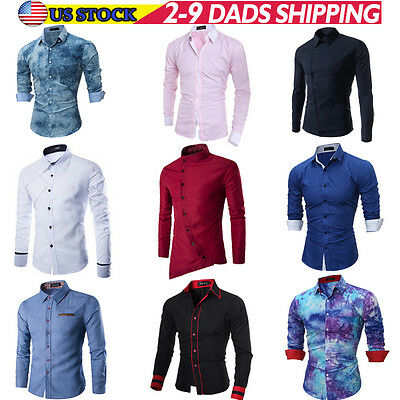 New Fashion Luxury Mens Casual Shirt Slim Fit Stylish Long Sleeve Dress Shirts