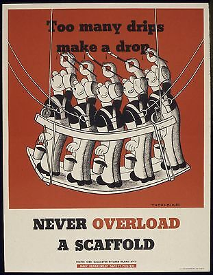 Never Overload a Scaffold USA World War 2 Poster Painters 7x5 Inch Reprint