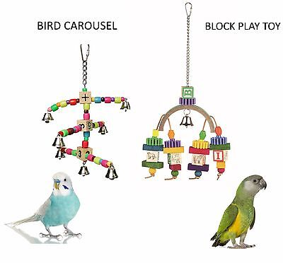 Small Bird Or Parrot Parakeet Rainbow Block W/beads Cage Play Toys 2 Styles