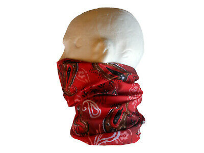 Neck/Face Warmer Tube Bandana Paisley Microfibre Red