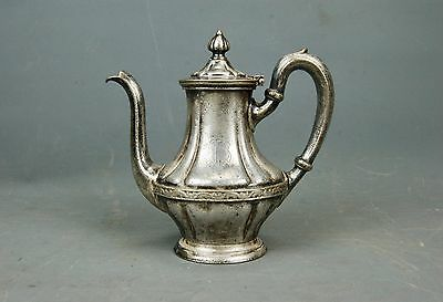 Antique Hotel Ware Silver Soldered Tea Coffee Pot FM? R. Wallace 14 oz 1920s