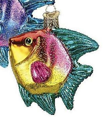 Teal, Pink & Yellow Tropical Angelfish Old World Christmas Fish Ornament 12383