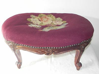 Antique Victorian Hand Carved Wood Needlepoint Tapestry Bird FootStool Stool