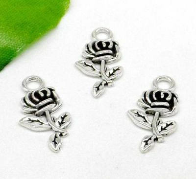 10//50//300pcs Tibetan Silver Flower Hat Jewelry Finding Charms Pendant 17x10mm