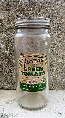 Vtg Flavorite Pickle Green Tomato Relish Walters & Co. Chattanooga TN Jar Label