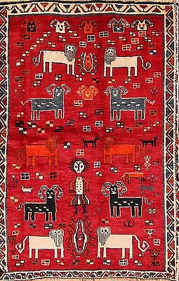 People & Animal Pictorial 4x6 Excellent Gabbeh Shiraz Persian Oriental Area Rug