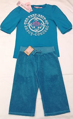 NWT Juicy Couture New Girls Age 8 Turquoise Cotton Tracksuit Pants & T-Shirt