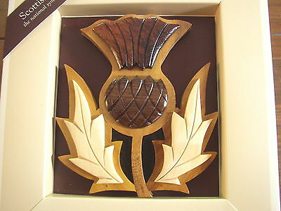 Scottish Thistle wooden Wall Carving, boxed