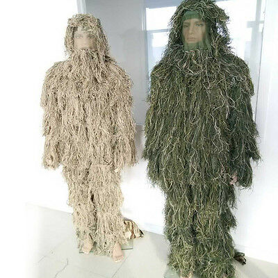 5 Piece + Bag Ghillie Suit Sniper Camo 3D Woodland Camouflage Forest Hunting