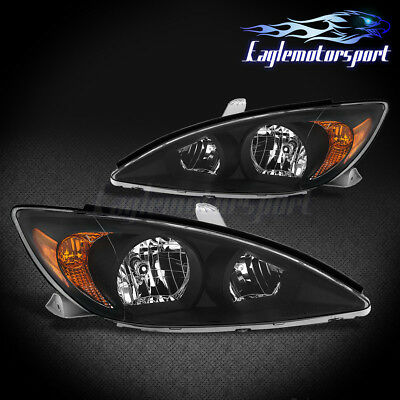 For 2002 2003 2004 Toyota Camry LE/XLE/SE Factory Style Black Headlights Set