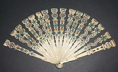 Antique French 18Th Century Hand Carved Painted Fan Sticks