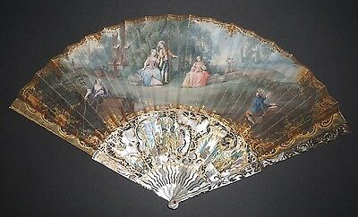 Superb Fine Antique French Carved Mother Of Pearl Gold Inlay Painted Scene Fan