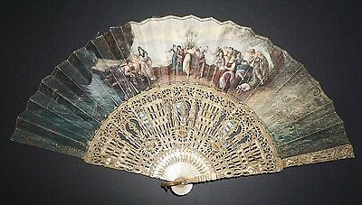 Fine Antique Victorian Hand Carved Painted Scene Fan Mother Of Pearl Inlay
