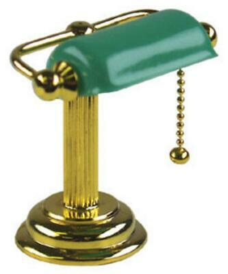 Dolls House Bankers Desk Lamp Brass Green Shade Miniature Electric Lighting 1:12