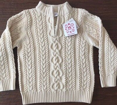Hanna Andersson 120 6-8 Cream Fishermans Cable Knit Cotton Wool 1/4 Zip Sweater