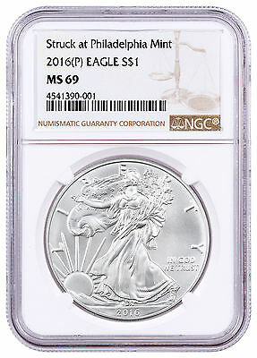 2016-(P) Silver Eagle Struck at Philadelphia Mint NGC MS69 SKU46670