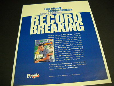 ENRIQUE IGLESIAS others are RECORD BREAKING People original PROMO POSTER AD mint