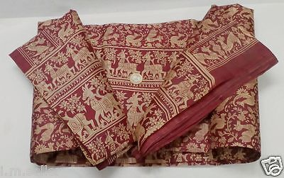 Peacock Horse Design Vintage 100% Pure Silk Fabric Sari Saree