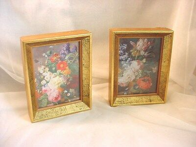 Vtg Old World Floral Bouquet Pictures Framed with Glass 5 by 6 inch Lot of 2