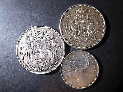 Canada Old Silver Coins Lot, 2 Half Dollars, 25 Cents
