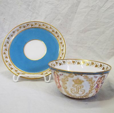 RARE Early Antique 1840s SEVRES FRANCE Fontainebleau Palace TEA CUP & SAUCER