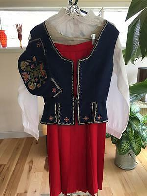 Authentic Oppland Bunad Vest & Cap With Red Wool Skirt & Bunad Shirt From Norway