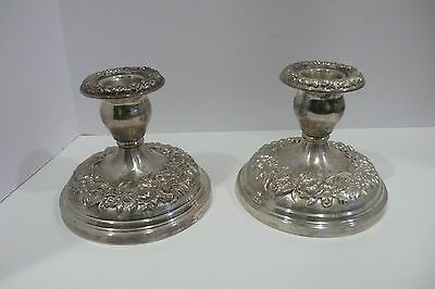S. Kirk & Sons Repousse SIlver Candle Holders VIntage