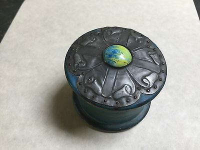ANTIQUE / ART DECO WOOD AND PEWTER LIDDED POWDER BOX with SWANSDOWN PUFF.