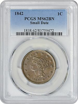 1842 Large Cent Small Date MS62BN PCGS