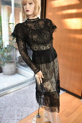 Lim's Vintage All Hand Made Hand Crochet Top & Skirt Set M Black L