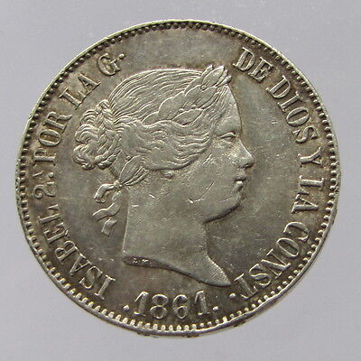 Spain, Isabel II, silver 10 reales, 1861, '7' pointed star, VF