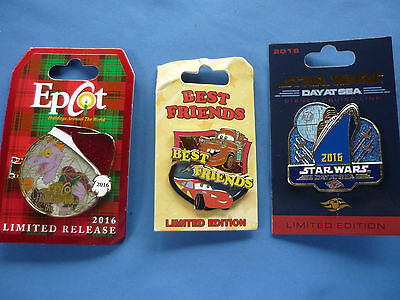LIMITED EDITION Disney Pin LOT of 3 Pins STAR WARS Cruise Best Friends CARS EPCO