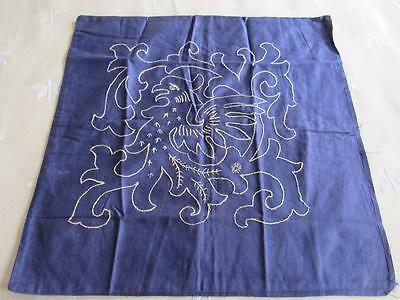 French Antique Vtg Embroidered Pillow Cover Sham PHOENIX Gold on Blue Griffin?