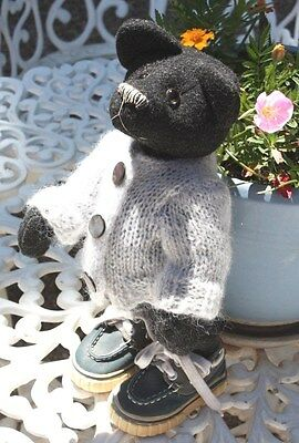 "Nona's Bears 13.5"" Doogy One of a Kind Antique Recycled 100% Wool STANDS ALONE"
