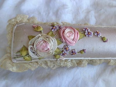 Antique Victorian Boudoir Floral Pink Rose Pansy Ribbon Lace Sewing Pin Cushion