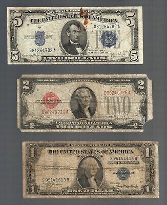 OLD MONEY $1 & $5 SILVER Blue Seal Certificates + 2 Dollar Bill RED Seal US Note