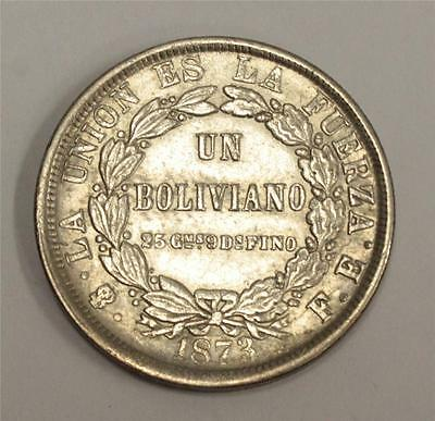 1873 PTS FE Bolivia One Boliviano Silver coin Extremely Fine condition EF40