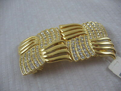 Vintage 80s 90s Paquette Gold Toned Metal CRYSTAL RHINESTONES Belt Buckle W TAG
