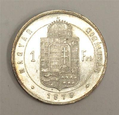 1879 Hungary One Florint Choice Uncirculated almost Uncirculated AU50