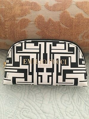 Emilio Pucci Sunglass Eyeglass Black White Case/Clutch Cosmetic Case New