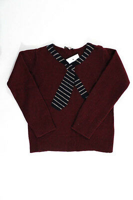 Junior Gaultier Burgundy Red Cotton Wool Long Sleeve Kids' Sweater Size 8A