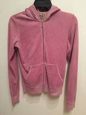 e33a44f28f JUICY COUTURE WOMENS Pink Velour Hoodie Sweatshirt M -  14.99