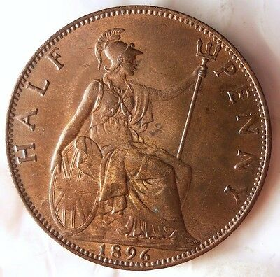1896 GREAT BRITAIN 1/2 PENNY - AU with Red Highlights - FREE SHIPPING - HV34