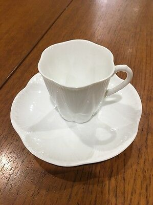 Beautiful Shelley Dainty White Demitasse Cup And Saucer