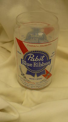 Pabst blue Ribbon beer can shaped glass American lager brewery 14 ounce