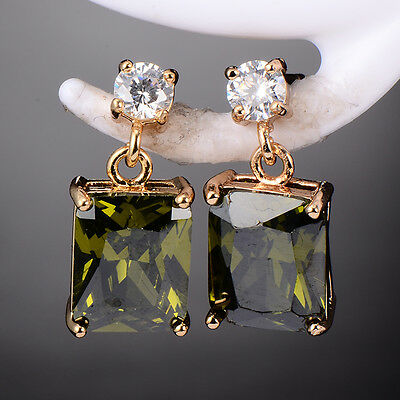 New Womens Gold Plated CZ Square Rhinestone CZ Drop Earrings Love