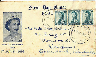 1956 Fiji First Day Cover Queen Elizabeth II issue FDC