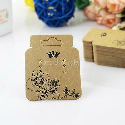 100Pcs Kraft Brown Jewelry Earring Ear Studs Hanging Display Holder Hang Cards