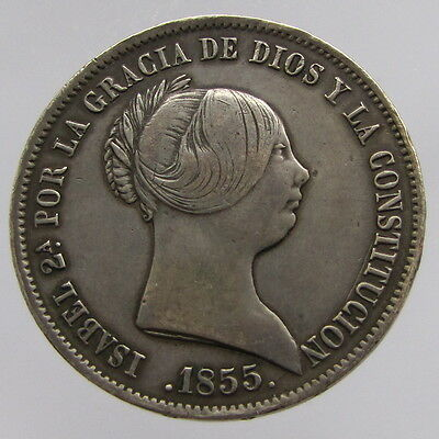 Spain, Isabella II, silver 20 reales, 1855, F-VF
