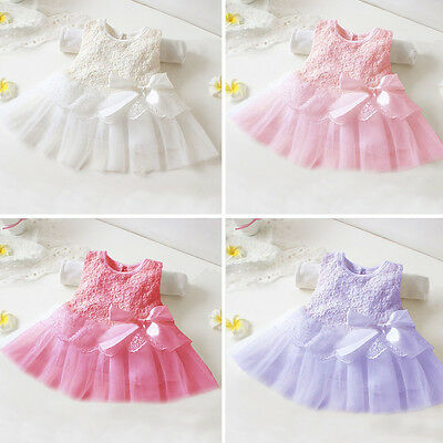 Newborn Baby Girl Kids Tutu Skirt  Party Christening Baptism Gown Dress Clothes